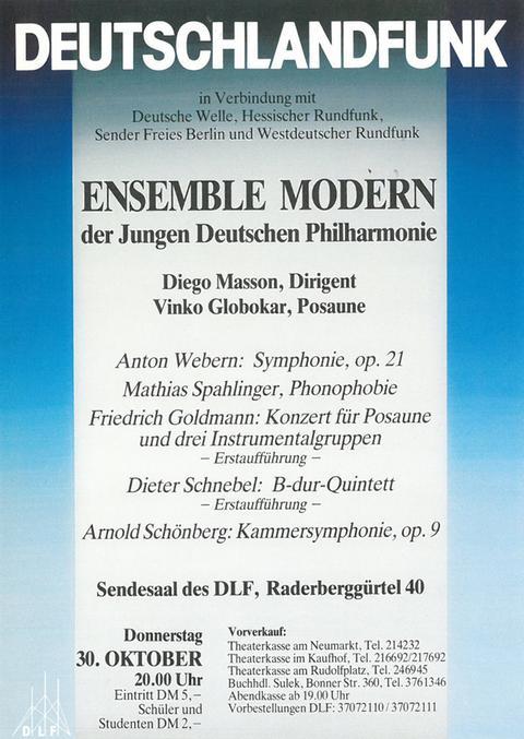Plakat Gründungskonzert Ensemble Modern