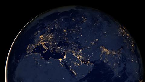 Planet Erde Europa Nacht
