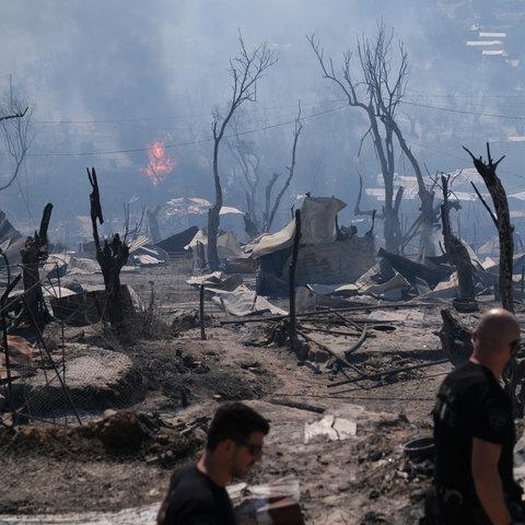 Feuer im Flüchtlingslager Moria auf Lesbos