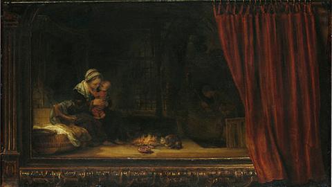 Rembrandt - Die Heilige Familie mit dem Vorhang