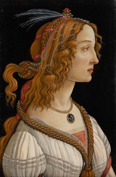 Bilder aus dem Städel zum Herunterladen - Sandro Botticelli, Weibliches Idealbildnis (Bildnis der Simonetta Vespucci als Nymphe), ca. 1480