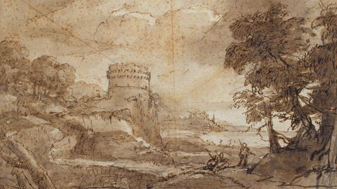 Claude Lorrain, Landschaft mit rundem Turm und Meeresbucht, 1635–1640