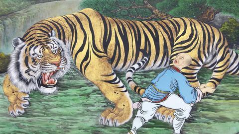 Illustration des Zen-Koans vom Tiger und dem Mönch