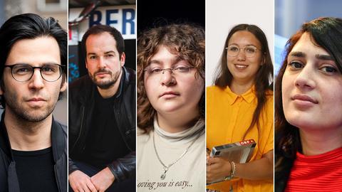 Deniz Utlu, Max Czollek, Hengameh Yaghoobifarah, Ronya Othmann und Fatma Aydemir