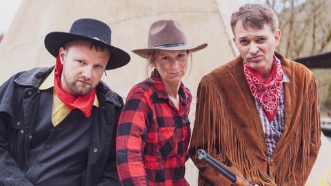 Helmer Hein, Tina Wurster und Klaus Krückemeyer vom hr2-RadioLiveTheater