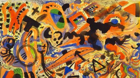 A. R. Penck, Aquarell auf rauem Velinpapier