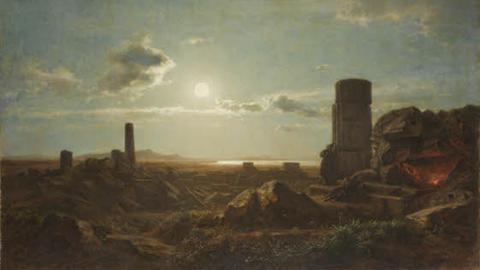 Mondbild August Bromeis: Tempelruinen von Selinunt bei Mondschein