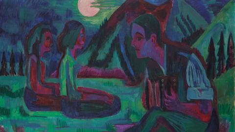 Mondbild Ernst Ludwig Kirchner: Handorgler in Mondnacht, 1924