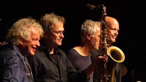 """Hut ab!"" – Albert Mangelsdorff@90 - v.l.n.r. Joachim Kühn, Christof Lauer, Bruno Chevillon, Stefan Lottermann"