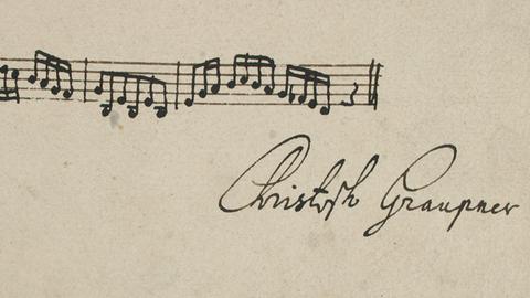 Unterschrift Christoph Graupners mit Notenincipit