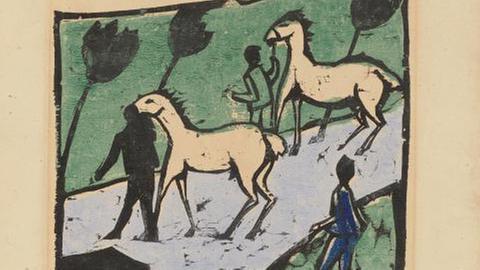 """Erich Heckel, Weiße Pferde, 1912, Ausstellung """"Geheimnis der Materie"""""""